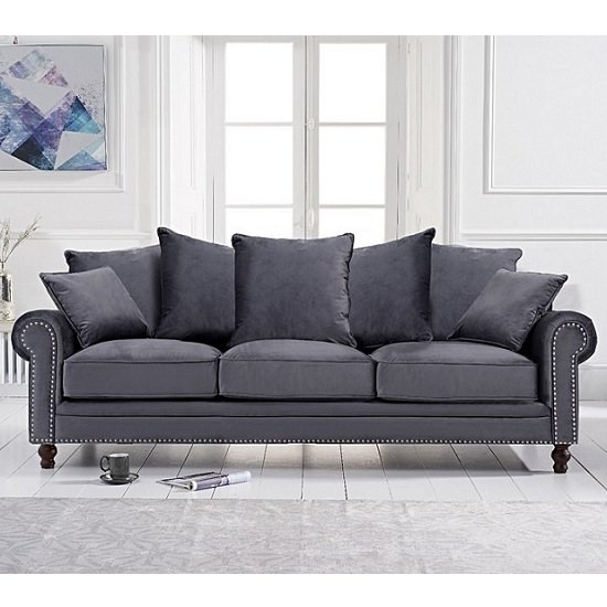 Hoffman Modern 3 Seater Sofa In Grey Plush Fabric