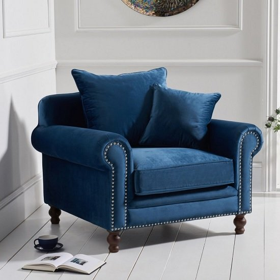 Image of Hoffman Modern Sofa Chair In Blue Plush Fabric With Wooden Legs
