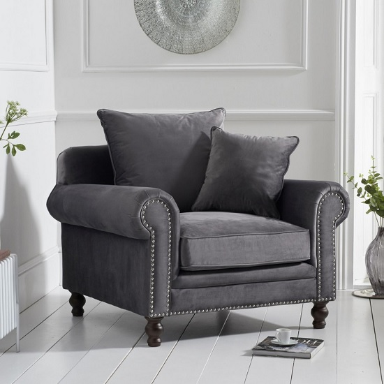 Hoffman Modern Sofa Chair In Grey Plush Fabric With Wooden Legs