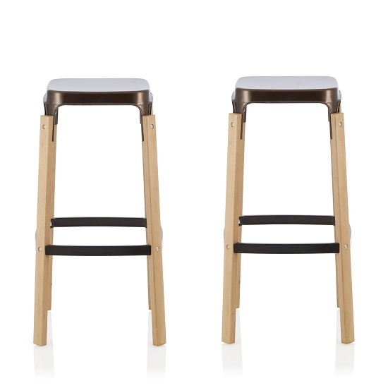 Hoker 66cm Bar Stools In Antique Bronze In A Pair