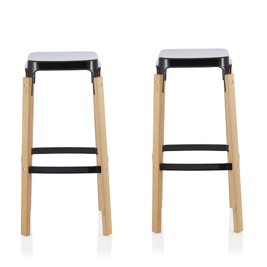 Hoker 66cm Bar Stools In Glossy Black In A Pair