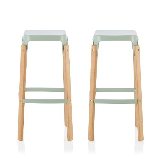 Hoker 76cm Bar Stools In Glossy Green In A Pair