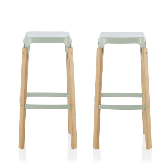 Hoker 66cm Bar Stools In Glossy Green In A Pair