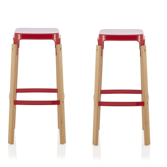 Hoker 76cm Bar Stools In Glossy Red In A Pair