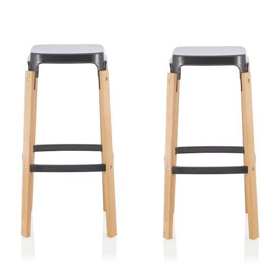 Hoker 66cm Bar Stools In Gun Metal In A Pair