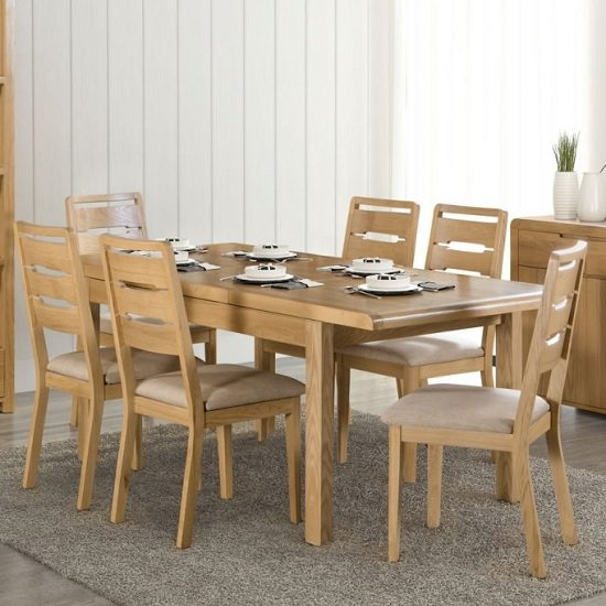 Holborn Wooden Extending Dining Table In Oak With 6 Chairs
