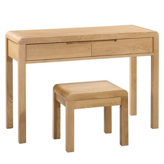 Marne Wooden Dressing Table And Stool In Oak