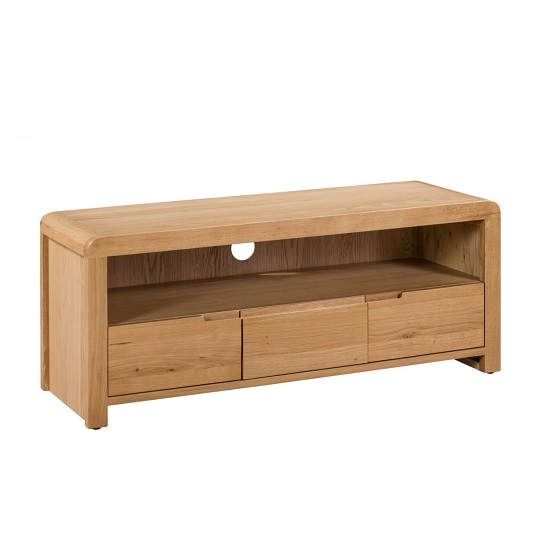 Holborn Wooden TV Stand Rectangular In Oak With 3 Drawers_1