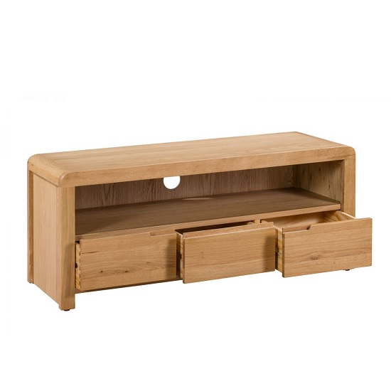 Holborn Wooden TV Stand Rectangular In Oak With 3 Drawers_2
