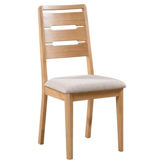 Holborn Wooden Dining Chair In Oak With Padded Linen Seat_1
