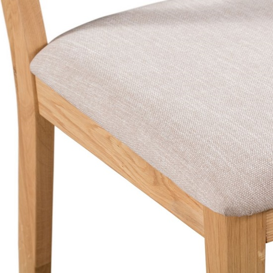 Holborn Wooden Dining Chair In Oak With Padded Linen Seat_4