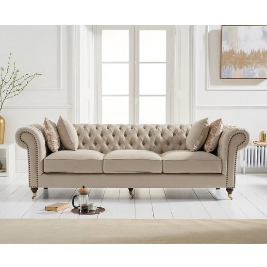 Holbrook Chesterfield 3 Seater Sofa In Beige Linen
