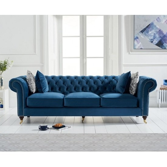 Holbrook Chesterfield 3 Seater Sofa In Blue Velvet_1