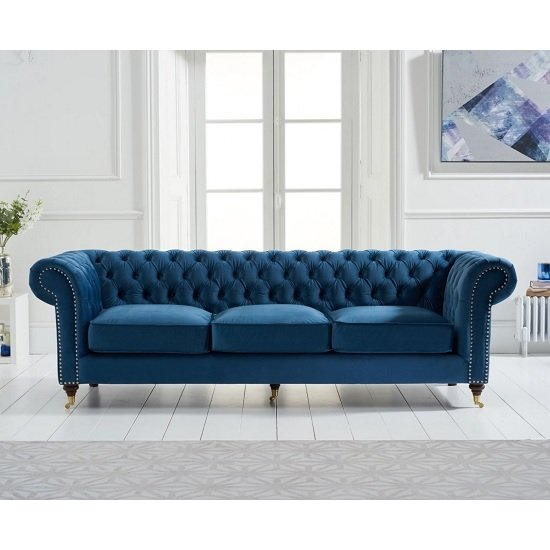 Holbrook Chesterfield 3 Seater Sofa In Blue Velvet_2