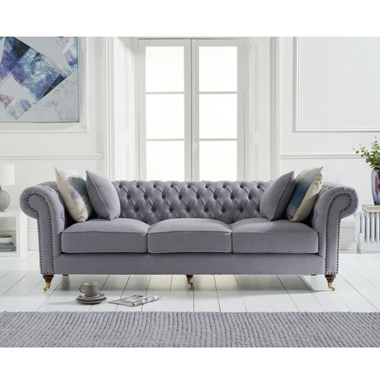 Holbrook Chesterfield 3 Seater Sofa In Grey Linen