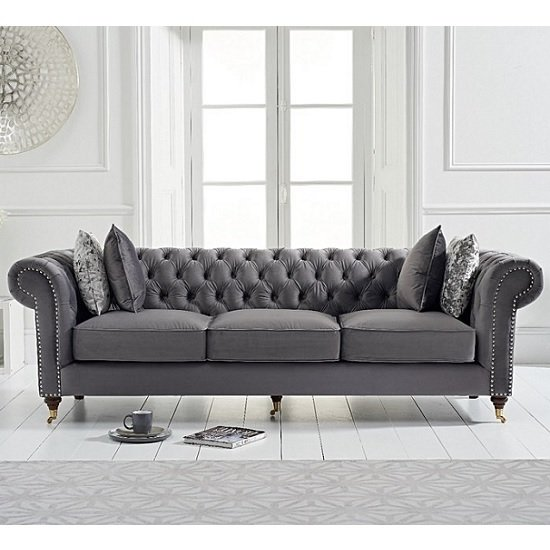 Holbrook Chesterfield 3 Seater Sofa In Grey Velvet_1