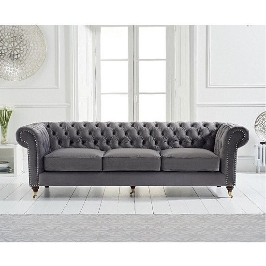 Holbrook Chesterfield 3 Seater Sofa In Grey Velvet_2