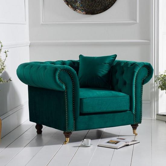 Holbrook Chesterfield Sofa Chair In Green Velvet