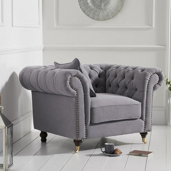 Holbrook Chesterfield Sofa Chair In Grey Linen_1