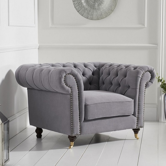 Holbrook Chesterfield Sofa Chair In Grey Linen_2