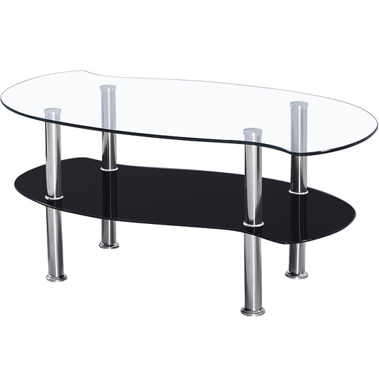Photo of Holby coffee table in clear glass top and black glass undershelf