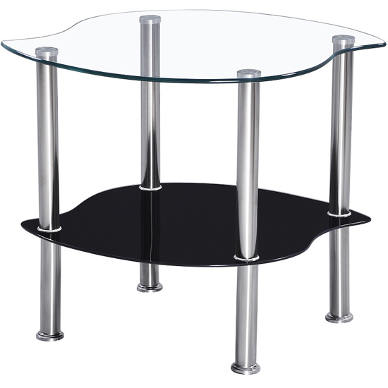 Holby Lamp Glass Table in Clear Top And Black Undershelf