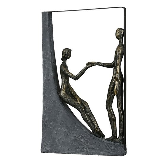 Holding Hands Poly Design Sculpture In Antique Bronze And Grey