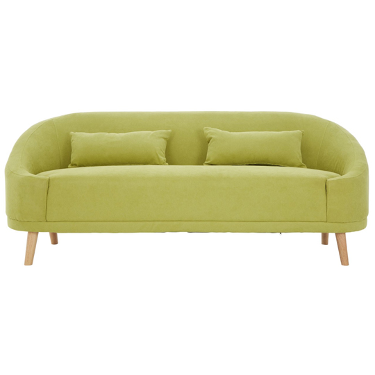 Errai 3 Seater Linen Sofa In Green With Rubberwood Legs