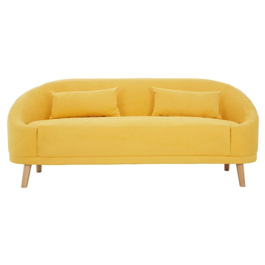 Errai 3 Seater Linen Sofa In Yellow With Rubberwood Legs