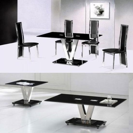Black And Chrome Coffee Table Set: Black Glass And Chrome Coffee Table