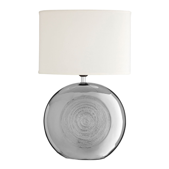 Hollycas White Fabric Shade Table Lamp With Chrome Base