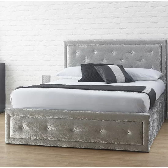 Hollywood Crushed Velvet Ottoman King Size Bed In Silver