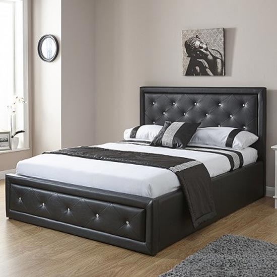 Hollywood Faux Leather King Size Bed In Black_1
