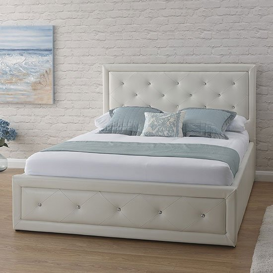 Hollywood Faux Leather Double Bed In White