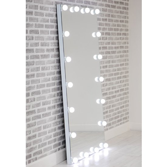 Hollywood Floor Dressing Mirror With White High Gloss Frame_1