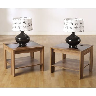 Hollywood Lamp Table In Black Glass Top With Undershelf
