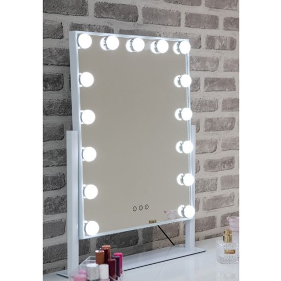 Hollywood Large Swivel Dressing Mirror In White High Gloss Frame_1
