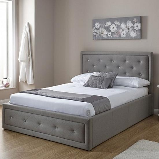 Hollywood Ottoman Fabric Double Bed In Stone