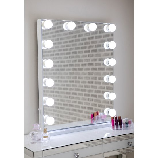 View Hollywood portrait dressing mirror with white high gloss frame