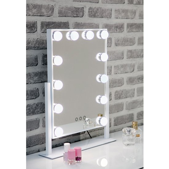 Hollywood Swivel Dressing Mirror With White High Gloss Frame_1
