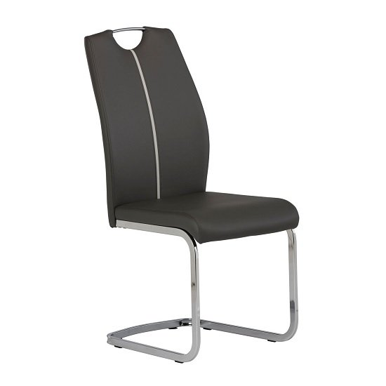 Holmes Cantilever Dining Chair In Grey PU With Chrome Base