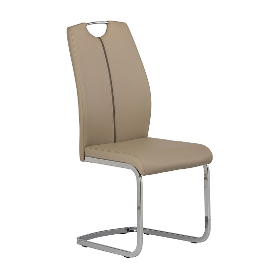 Holmes Cantilever Dining Chair In Latte PU With Chrome Base