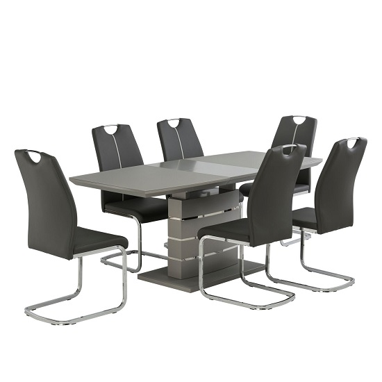 Holmes Cantilever Dining Chair In Grey PU With Chrome Base_3