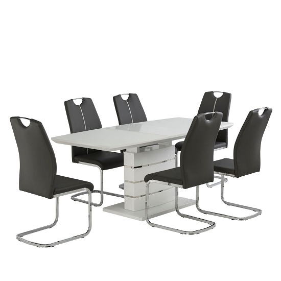 Holmes Extendable Glass Dining Table In Matt White And 6 Chairs