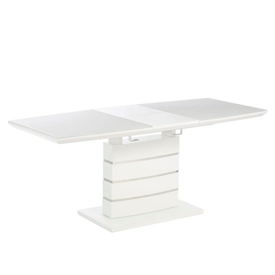 Holmes Extendable Glass Dining Table In Matt White