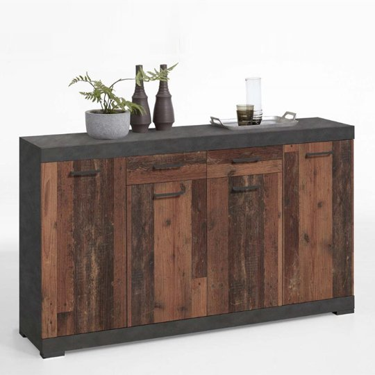 Holte Wooden Large Sideboard In Matera And Old Style Dark