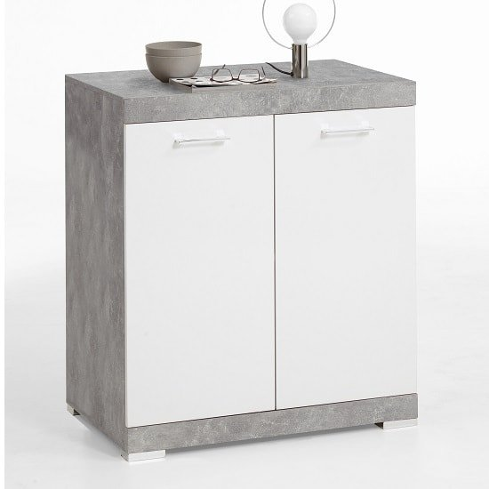Holte Compact Sideboard In Light Atelier And Glossy White