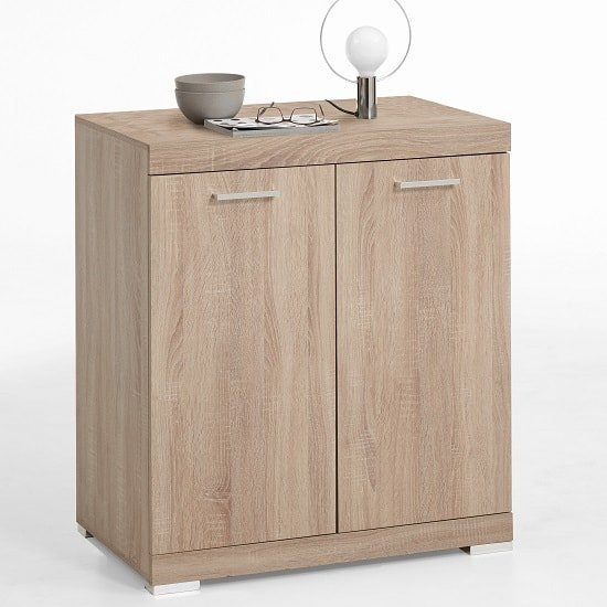 Holte Wooden Compact Sideboard In Oak Tree With 2 Doors_1