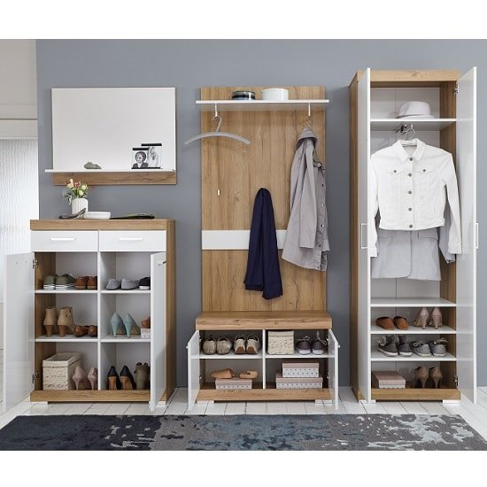 Holte Hallway Wardrobe In Oak And Glossy White With 2 Doors_4