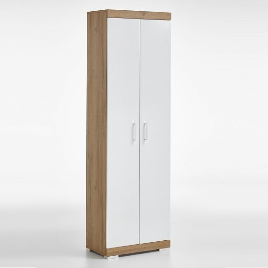 Holte Hallway Wardrobe In Oak And Glossy White With 2 Doors